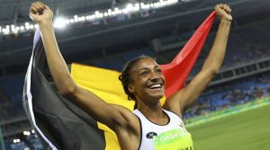 2016 Rio Olympics - Athletics - Final - Women's Heptathlon 800m - Olympic Stadium - Rio de Janeiro, Brazil - 13/08/2016.   Nafissatou Thiam (BEL) of Belgium celebrates winning the gold medal.  REUTERS/Kai Pfaffenbach  FOR EDITORIAL USE ONLY. NOT FOR SALE FOR MARKETING OR ADVERTISING CAMPAIGNS.