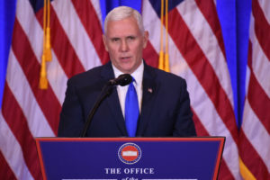 "(FILES) This file photo taken on January 11, 2017 shows  US Vice President-elect Mike Pence speaks during a press conference January 11, 2017 in New York. A feud between Donald Trump and a prominent civil rights icon ramped up January 15, 2017, as Vice president-elect Mike Pence jumped to his boss's defense while a growing number of Democrats vowed to skip the upcoming inauguration. Pence said he was ""deeply disappointed"" in longtime Congressman John Lewis's decision to boycott Trump's inauguration.  / AFP PHOTO / DON EMMERT"