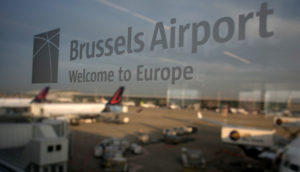 epa03866681 An illustration showing the logo of Brussels Airport, welcome to Europe, the airport is aslo known as Zaventem in Belgium, 13 September 2013. EPA/OLIVIER HOSLET