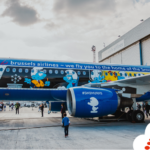 Brussels Airlines unveils Smurf airplane